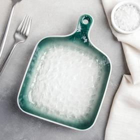 Блюдо для подачи Доляна «Туманность», 23×16,6×3,5 см, цвет зелёный