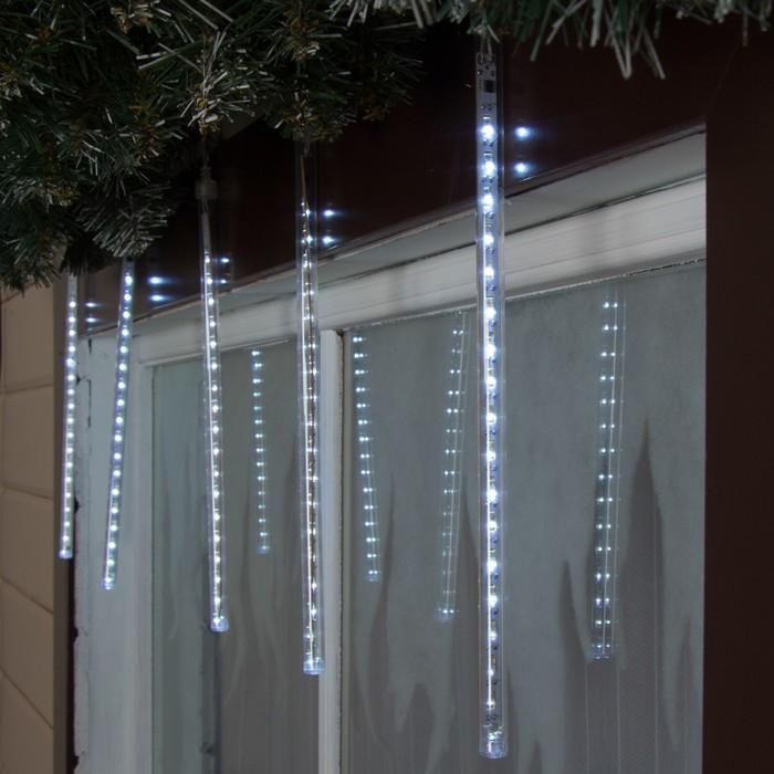 Светодиодная сосулька уличная Тающая 0,3 м, d2 см, вилка, LED-18-220V, нить белая, свечение белое
