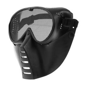 Очки-маска для езды на мототехнике, грязезащита, армированные, черный Ош