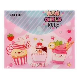 Папка-конверт на кнопке А6 (170 х 140 мм) , 150 мкм, горизонтальная, deVENTE Girls rule Ош