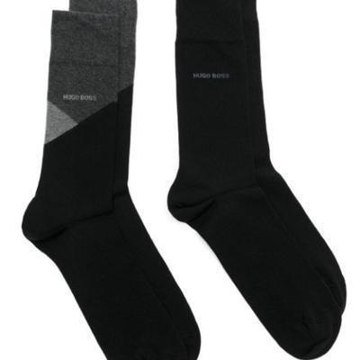 Носки мужские Hugo Boss 2P RS Color Block CC, размер 43-46, цвет чёрный, 2 шт.