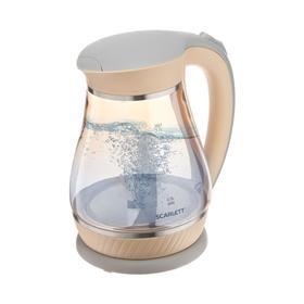 Чайник электрический Scarlett SC-EK27G83, стекло, 1.7 л, 2200 Вт, бежевый