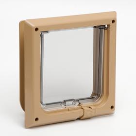 Дверца для кошек «БАРСИК», проём 145*145 мм, толщина двери 36-42 мм, капучино Ош