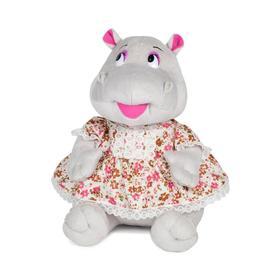 Мягкая игрушка «Бегемотик Шура в платьице» озвученная, 23 см