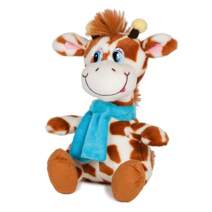Мягкая игрушка Жираф Димон в шарфике озвученный, 20 см