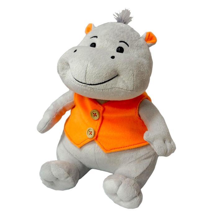 Мягкая игрушка Бегемотик Саша улыбчивый озвученный, 23 см