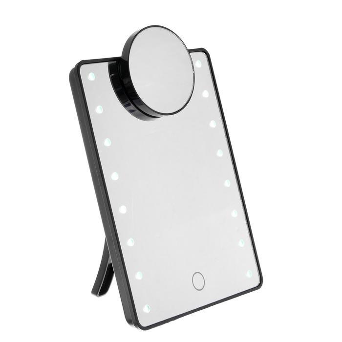 Зеркало ENERGY EN-705Z, подсветка, +увеличительное зеркало 5Х d=7.5 см, 16.3х21.2 см, 4хААА