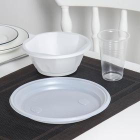 Набор одноразовой посуды, миска 600 мл, тарелка 20,5 см, стакан 200 мл, цвет прозрачный