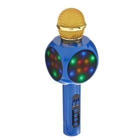 Колонка-микрофон для караоке WS-1816ch, 2х3 Вт, 2600 мАч, подсветка, синий Ош