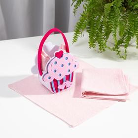 Набор полотенец в корзинке Этель «Сладкоежка» 30х30см - 2шт, цв.розовый, 100% хл