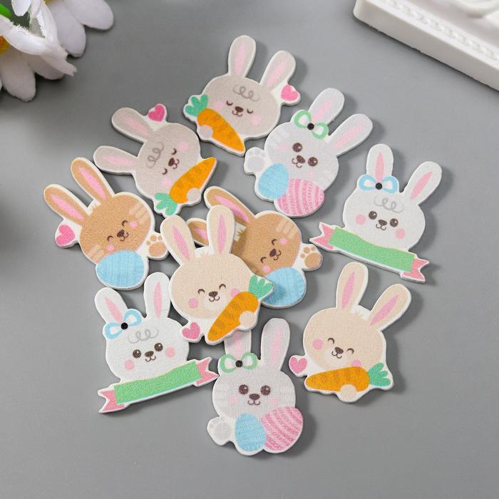 """Декор для творчества дерево """"Кролики"""" набор 10 шт МИКС 2,5х1,5 см"""