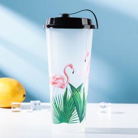 Стакан с крышкой «Фламинго», 9×20 см, цвет прозрачный