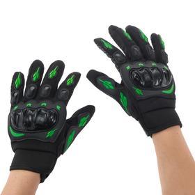 Перчатки для езды на мототехнике, с защитными вставками, пара, размер М, черно-зеленый Ош