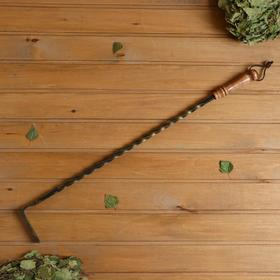 Кочерга кованная 'Патина золото', ручка буковая, высота 80 см Ош