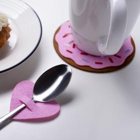 Конверт для столовых приборов 'Love' розовый, 5,4 х 5 см, 100% п/э, фетр Ош