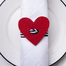 Декор для салфетки 'Сердце' 5,4 х 5 см, 100% п/э, фетр Ош