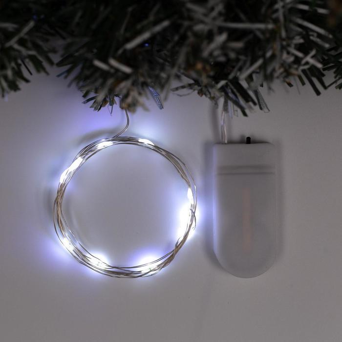 Гирлянда Нить 1 м роса, IP20, серебристая нить, 10 LED, свечение белое, фиксинг, 2 х CR2032