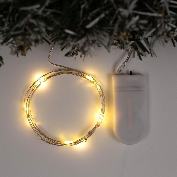 Гирлянда Нить 1 м роса, IP20, серебристая нить, 10 LED, свечение тёплое белое, фиксинг, 2 х CR2032