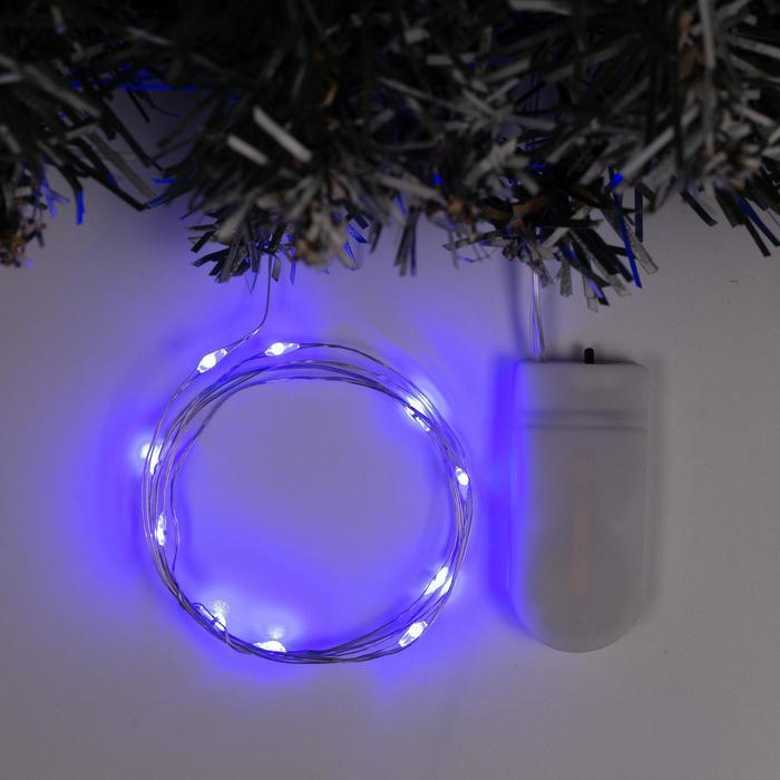 Гирлянда Нить 1 м роса, IP20, серебристая нить, 10 LED, свечение синее, фиксинг, 2 х CR2032