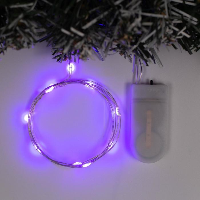 Гирлянда Нить 1 м роса, IP20, серебристая нить, 10 LED, свечение фиолетовое, фиксинг, 2 х CR2032