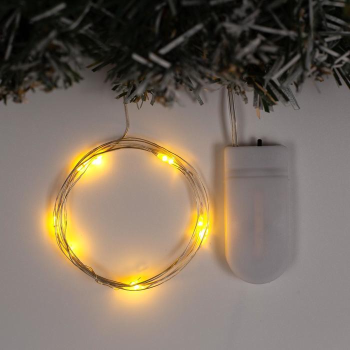 Гирлянда Нить 1 м роса, IP20, серебристая нить, 10 LED, свечение жёлтое, фиксинг, 2 х CR2032