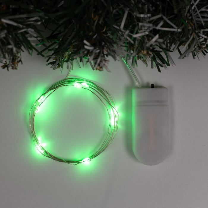 Гирлянда Нить 1 м роса, IP20, серебристая нить, 10 LED, свечение зелёное, фиксинг, 2 х CR2032