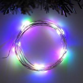 """Гирлянда """"Нить"""" 2 м роса, IP20, серебристая нить, 20 LED, свечение мульти, фиксинг, USB"""