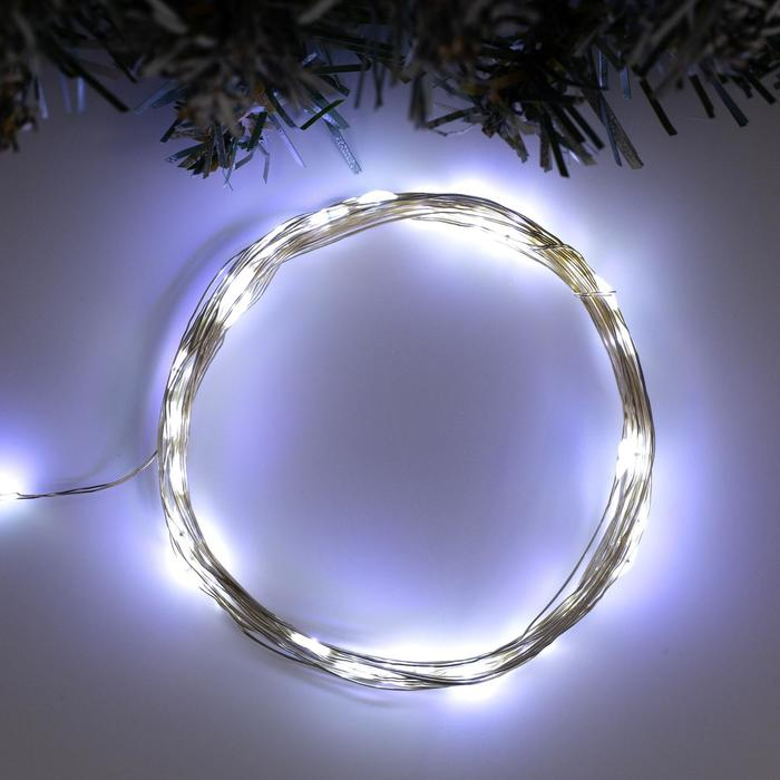 Гирлянда Нить 5 м роса, IP20, серебристая нить, 50 LED, свечение белое, фиксинг, USB