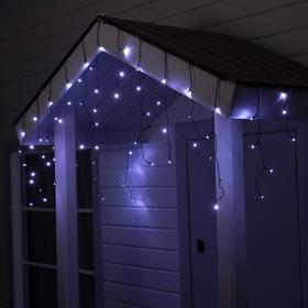 """Гирлянда """"Бахрома"""" 3 х 0.6 м , IP44, УМС, тёмная нить, 72 LED, свечение белое, фиксинг, 24 В"""