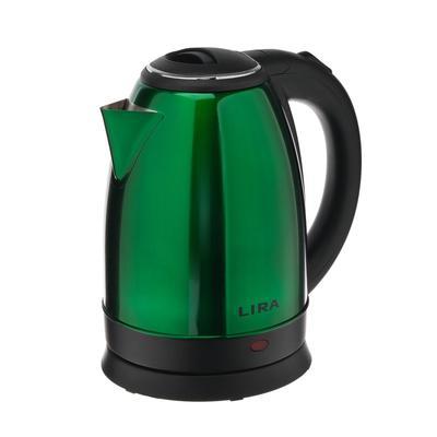 Чайник электрический LIRA LR 0122, металл, 1.8 л, 1800 Вт, зелёный - Фото 1