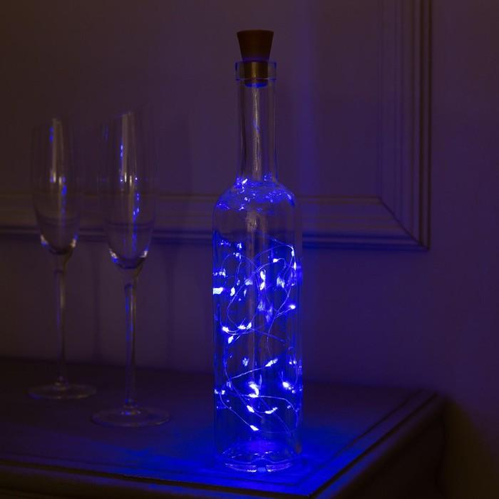 """Гирлянда """"Нить"""" 2 м роса с пробкой, IP44, серебристая нить, 20 LED, свечение синее, фиксинг, солнечная батарея"""