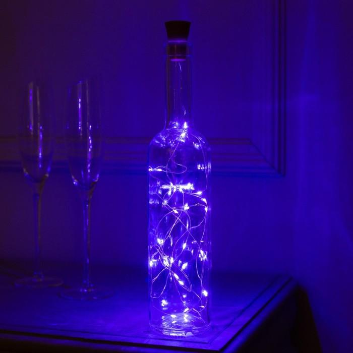 """Гирлянда """"Нить"""" 2 м роса с пробкой, IP44, серебристая нить, 20 LED, свечение фиолетовое, фиксинг, солнечная батарея"""