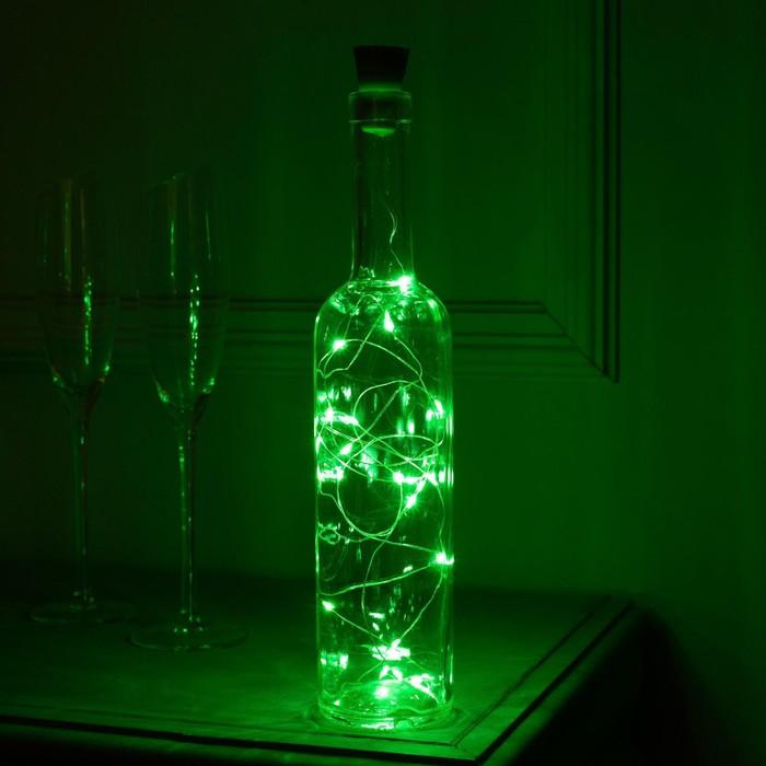 """Гирлянда """"Нить"""" 2 м роса с пробкой, IP44, серебристая нить, 20 LED, свечение зелёное, фиксинг, солнечная батарея"""