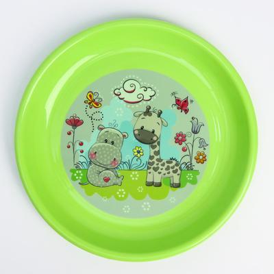 Тарелка детская плоская, цвет зеленый - Фото 1