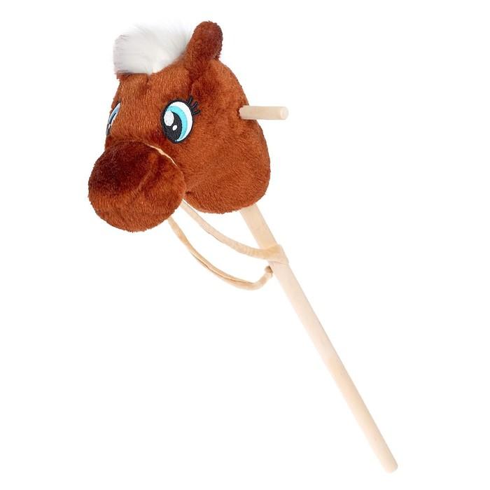 Мягкая игрушка Конь-скакун на палке, цвет коричневый