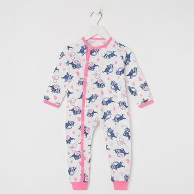 Комбинезон детский, цвет молочный/синий/розовый, рост 74-80 см - Фото 1