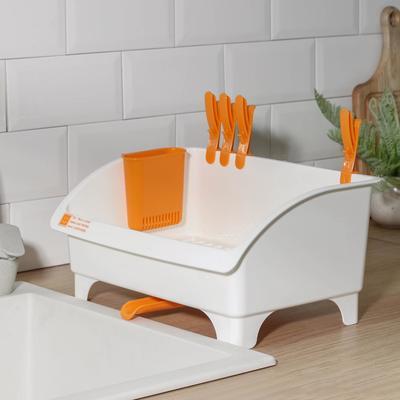 Сушилка для посуды со сливом поворотная YAMADA, 36,8×26,5×26,7 см, цвет белый - Фото 1
