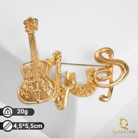 Брошь 'Музыка', цвет матовое золото Ош