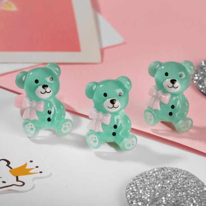Набор детский Выбражулька 2 пред-та клипсы, кольцо, медвежата, цвет МИКС