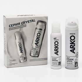 Набор ARKO Men Crystal: пена для бритья, 200 мл + дезодорант, 150 мл