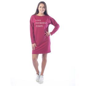 Платье-футболка Love yourself first, размер 50, цвет бордовый