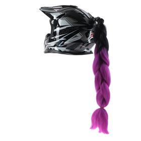 Коса на мотошлем, крепление присоской, 60 см, черно-фиолетовый Ош