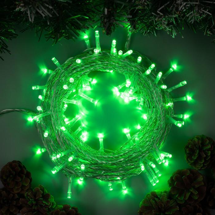 Гирлянда Нить 10 м , IP44, УМС, прозрачная нить, 100 LED, свечение зелёное, 8 режимов, 24 В