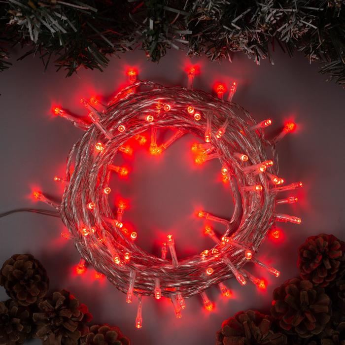 Гирлянда Нить 10 м , IP44, УМС, прозрачная нить, 100 LED, свечение красное, 8 режимов, 24 В