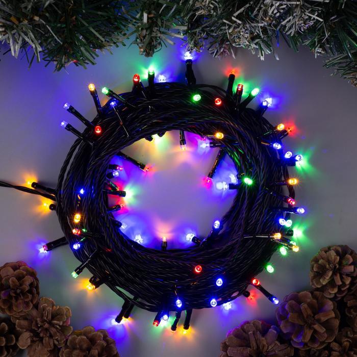 Гирлянда Нить 10 м , IP44, УМС, тёмная нить, 100 LED, свечение мульти, фиксинг, 24 В
