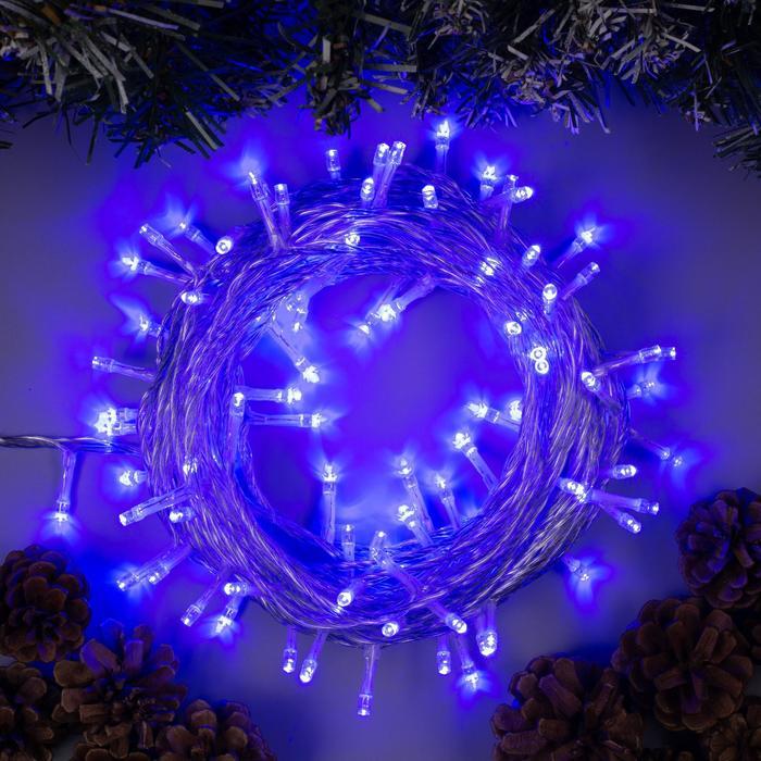 Гирлянда Нить 10 м , IP44, УМС, прозрачная нить, 100 LED, свечение синее, фиксинг, 24 В