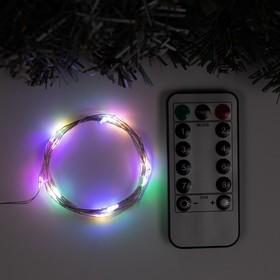 """Гирлянда """"Нить"""" 2 м роса, IP20, серебристая нить, 20 LED, свечение мульти, 8 режимов, USB"""