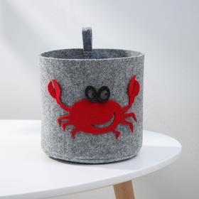 Корзина для хранения Eva Funny «Краб», 17×17×16 см, цвет светло-серый Ош