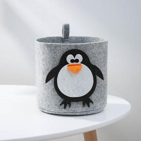 Корзина для хранения Eva Funny «Пингвин», 17×17×16 см, цвет светло-серый