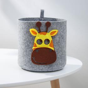 Корзина для хранения Eva Funny «Жираф», 17×17×16 см, цвет светло-серый